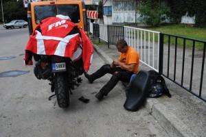 Too hot in Ukraine, fixing motorcycle